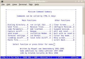 Minicom command summary